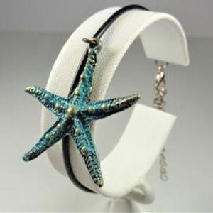 Jewelry - NAUTICAL AQUA & GOLD STARFISH BLACK LTHR BRACELET
